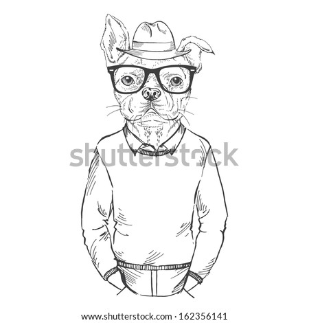 Hand Drawn Fashion Illustration of French Bulldog Hipster in one color isolated on white - stock vector