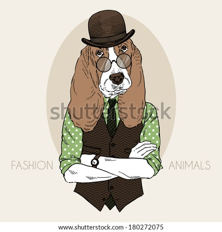 Hand drawn fashion illustration of hound hipster in colors - stock vector