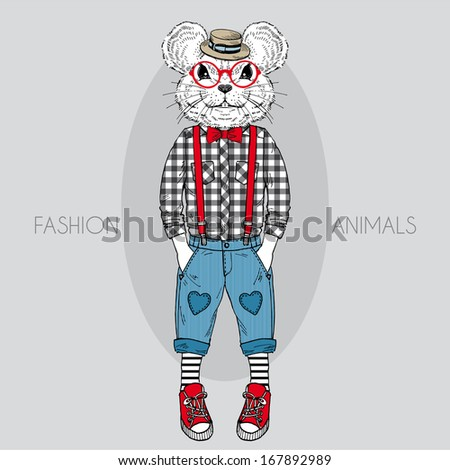 Hand Drawn Fashion Illustration of Mouse Kid in colors - stock vector