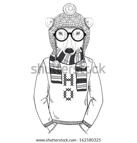 Hand Drawn Fashion Illustration of Polar Bear in Winter Knitwear in one color isolated on white - stock vector