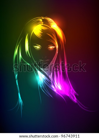 Hand-drawn fashion model from a neon. A light girl's face. - stock vector