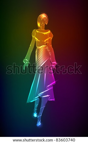 Hand-drawn fashion model from a neon. Vector illustration. A light girl's - stock vector