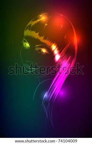 Hand-drawn fashion model from a neon. Vector illustration. A light girl's face. - stock vector