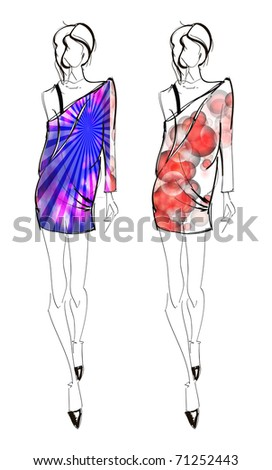 Hand-drawn fashion model. Vector illustration. - stock vector