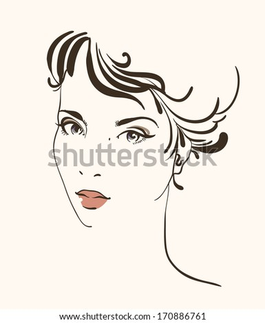 Hand-drawn fashion portrait - stock vector
