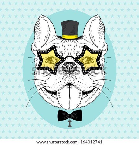 Hand Drawn Fashion Portrait of  Festive French Bulldog in top hat and star shaped glasses - stock vector