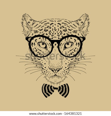 Hand Drawn Fashion Portrait of Leopard Hipster isolated on background - stock vector