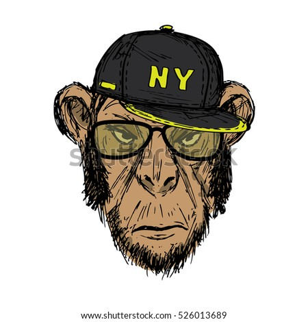 Hand Drawn Fashion Portrait of Monkey Hipster with glasses and dark cap, isolated on white background, vector illustration