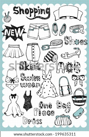 Hand drawn Fashion Set A - stock vector