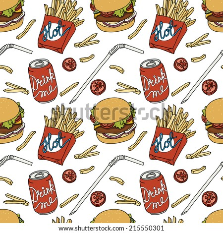 Hand drawn fast food doodle pattern - stock vector