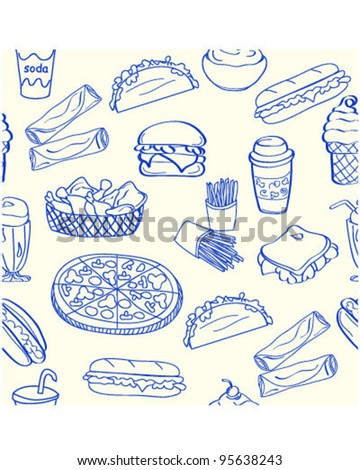 Hand Drawn Fast Food Icons         vector eps10 - stock vector
