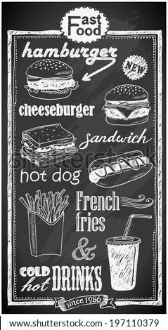 hand-drawn fast food menu on chalkboard - stock vector