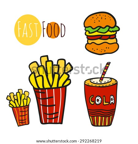 Hand drawn fast food set. Doodle street food. Fries potato, cola and burgers icon collection.