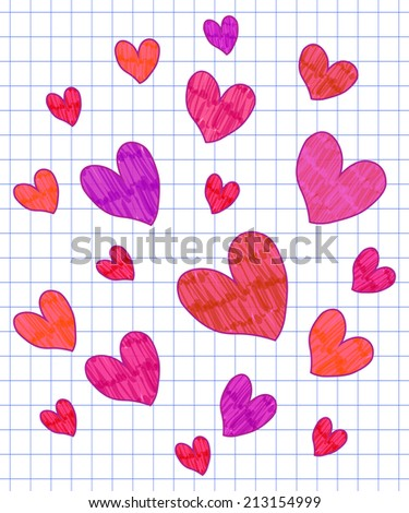 Hand-drawn felt pen imitation vector heart background on checked paper - stock vector