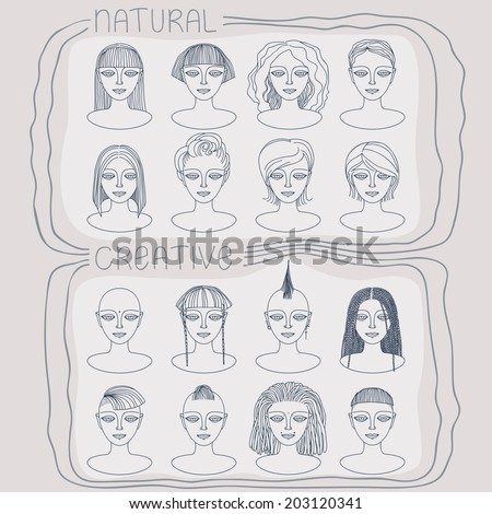 Hand drawn female faces with different hairstyles.