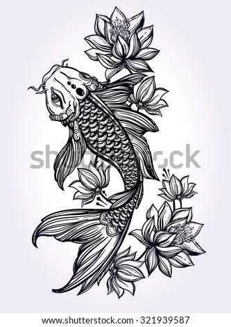 Hand Drawn Fish Koi Carp With Flowers