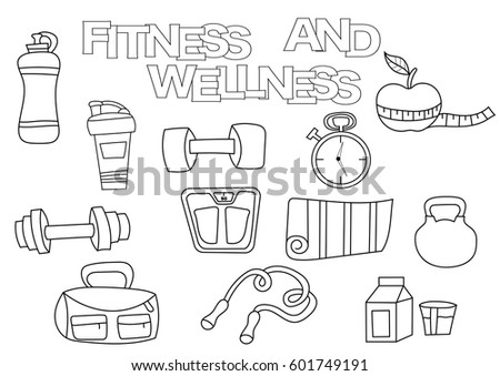 Hand Drawn Fitness And Wellness Set Coloring Book Template Outline Doodle Elements Vector Illustration