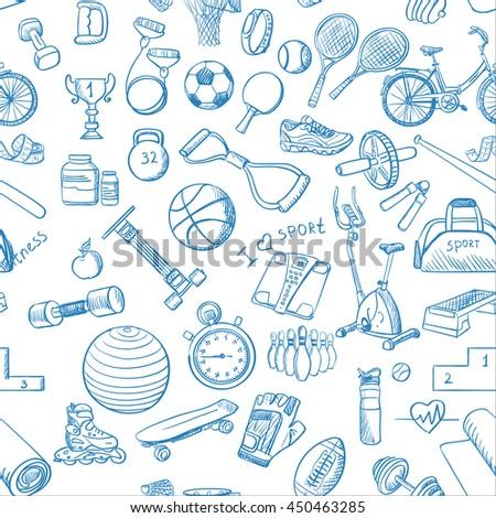 Hand drawn Fitness Sport doodle pattern. Vector illustration, EPS 10 - stock vector