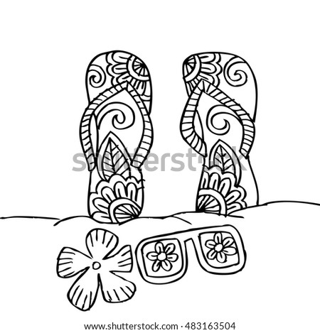 Hand Drawn Flip Flops And Sunglasses At The Beach