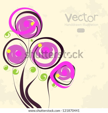 hand drawn floral background - stock vector