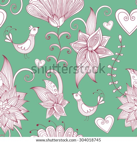 Hand-drawn floral background. Seamless pattern. Can be used for textile design, web page background, surface textures, wallpaper - stock vector