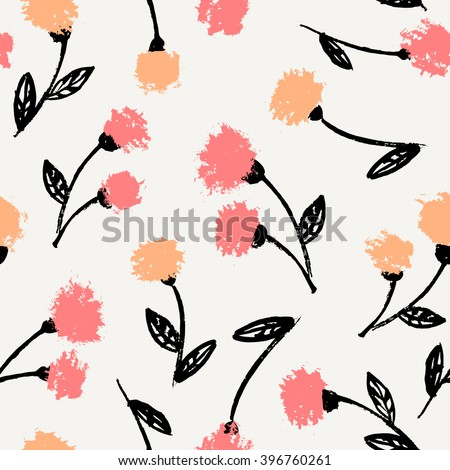 Hand drawn floral brush strokes pattern in black, orange, pink and cream, seamless repeating chrysanthemum blossoms vector illustration. - stock vector