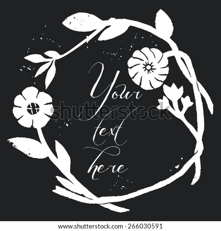 Hand-drawn floral chalkboard background. Stylish floral background, hand drawn retro flowers. Chalk style, Chalkboard background. - stock vector