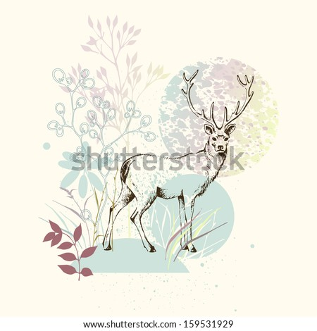 Hand drawn floral design with deer.