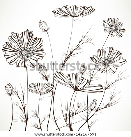 Hand drawn floral. Elements for design, EPS10 Vector background - stock vector