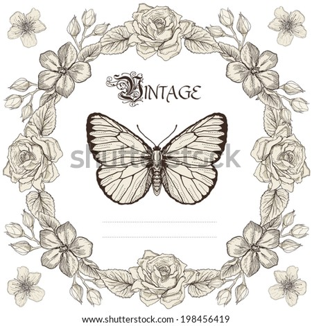 Hand drawn floral frame and butterfly. Vintage engraving style - stock vector