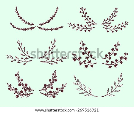 Hand drawn floral laurel collection made in vector. Cute design elements. - stock vector