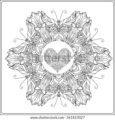 Hand Drawn Floral Mandala With Butterflies And Decorative Love Heart For Valentines Day Vector Illustration