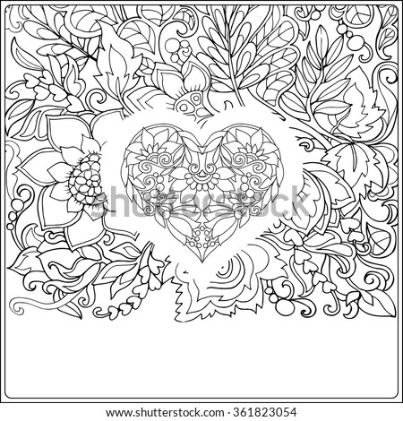 Hand Drawn Floral Pattern And Decorative Love Heart For Valentines Day Vector IllustrationColoring