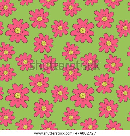 Hand drawn floral seamless abstract background