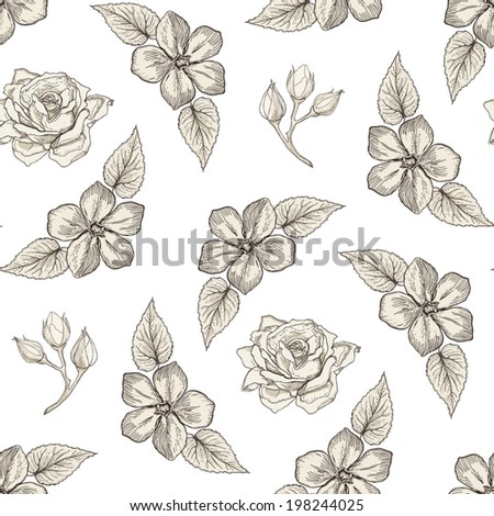 Hand drawn floral seamless pattern with roses, flower buds and leaves. Vintage engraving style - stock vector