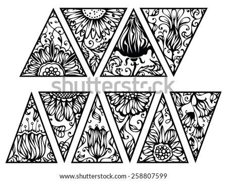 Hand drawn floral triangles. Vector triangles with floral ornament isolated on white background. - stock vector