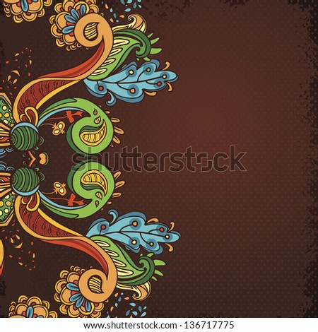 Hand Drawn floral vintage ornaments with flowers. vector  background - stock vector