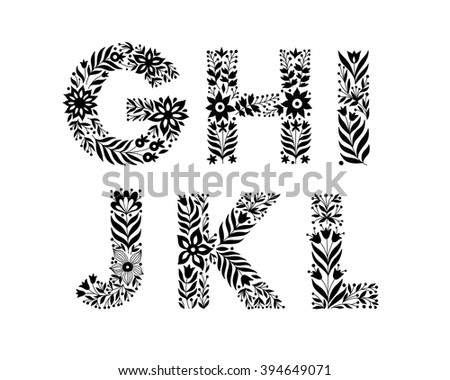 hand drawn flower alphabet, flower decorative typography, decorative font, trend lettering G,H,I,J,K,L - stock vector