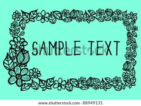 Hand Drawn Flower Boarder - stock vector