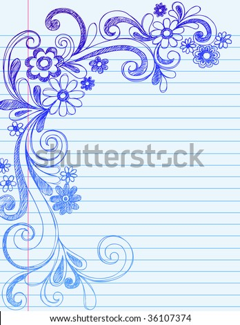 Hand drawn flower border doodles on lined stock vector 36107374 hand drawn flower border doodles on lined notebook paper vector mightylinksfo