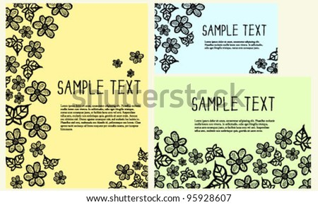Hand drawn flower doodle card templates - stock vector