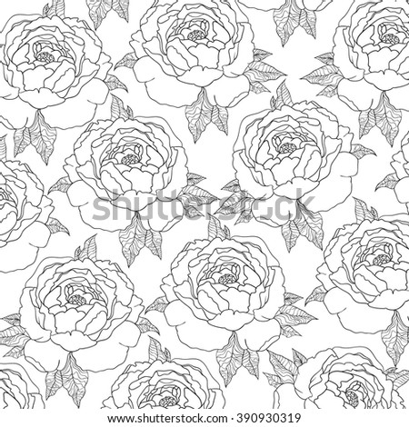 Seamless floral pattern red flowers on stock vector Coloring book background