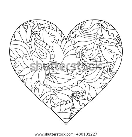Hand Drawn Flower Heart Adult Anti Stock Vector 480101227