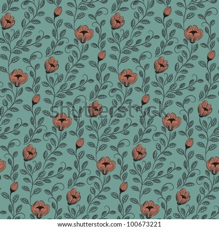 hand drawn flower pattern - stock vector