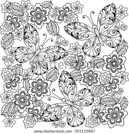 Hand Drawn Flowers Butterflies Anti Stress Stock Vector 393119887