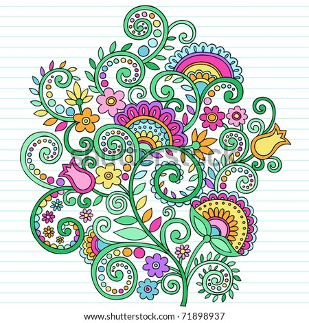 Hand-Drawn Flowers and Vines Psychedelic Groovy Notebook Doodles Design Element on Lined Sketchbook Paper Background- Vector Illustration - stock vector