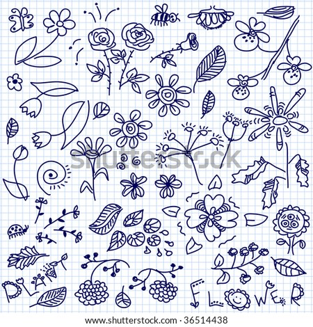 hand drawn flowers doodle vector - stock vector