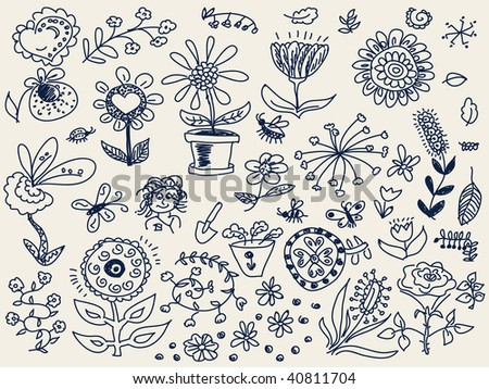 Hand drawn flowers doodle Vector. Visit my portfolio for big collection of doodles - stock vector