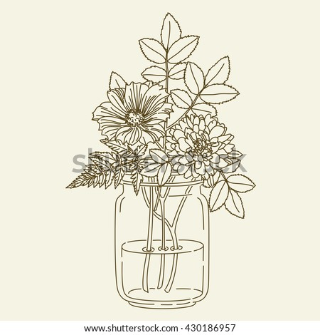 Hand Drawn Flowers Mason Jar Vector Stock Photo Photo Vector