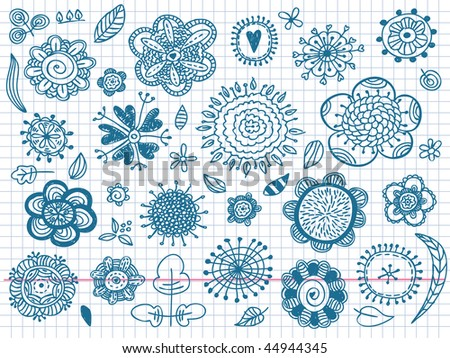Hand drawn flowers. Visit my portfolio for big collection of doodles - stock vector